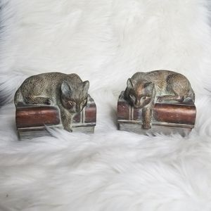 SLEEPING CAT heavy bookends paper weights
